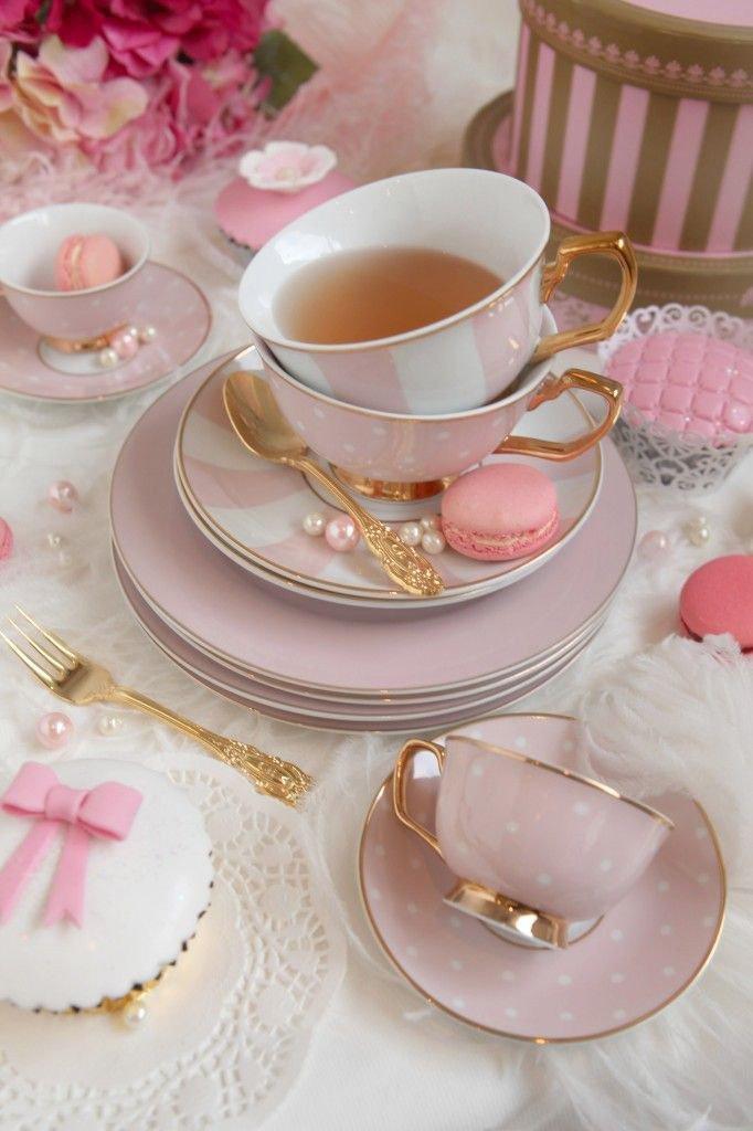 Elegant Pink and white teaware