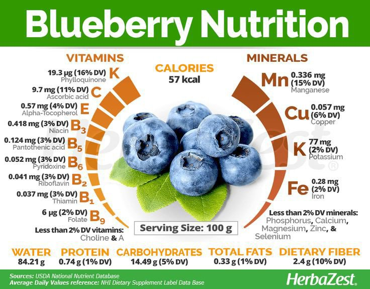 Nutrition information on blueberries