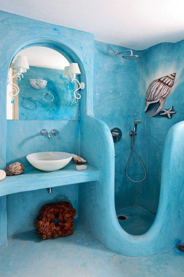 Marine inspired shower decor